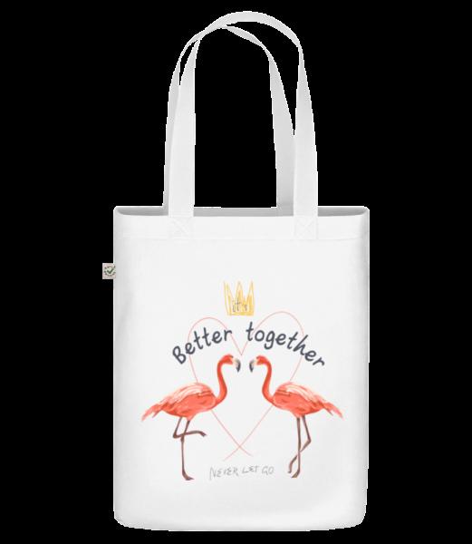 Better Together Flamingos - Sac en toile bio Earth Positive - Blanc - Vorn