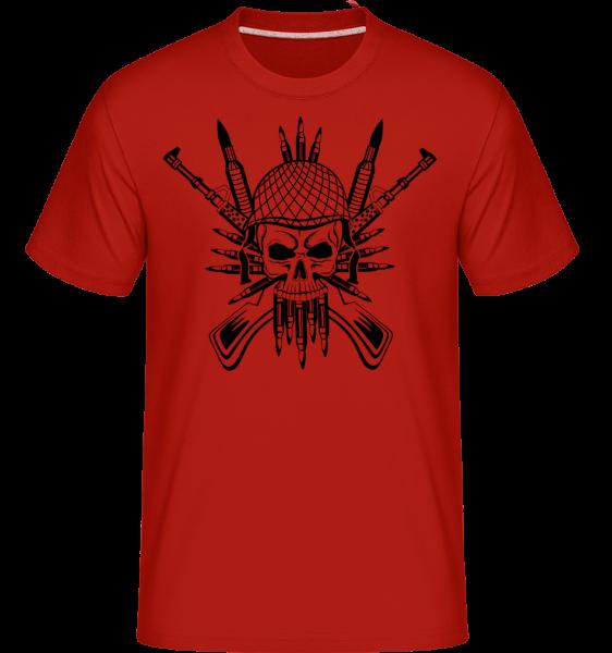 Tatouage De Crâne De Soldat - T-Shirt Shirtinator homme - Rouge - Vorn