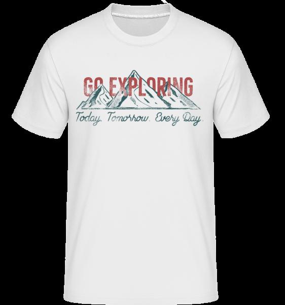 Go Exploring Mountains - T-Shirt Shirtinator homme - Blanc - Vorn