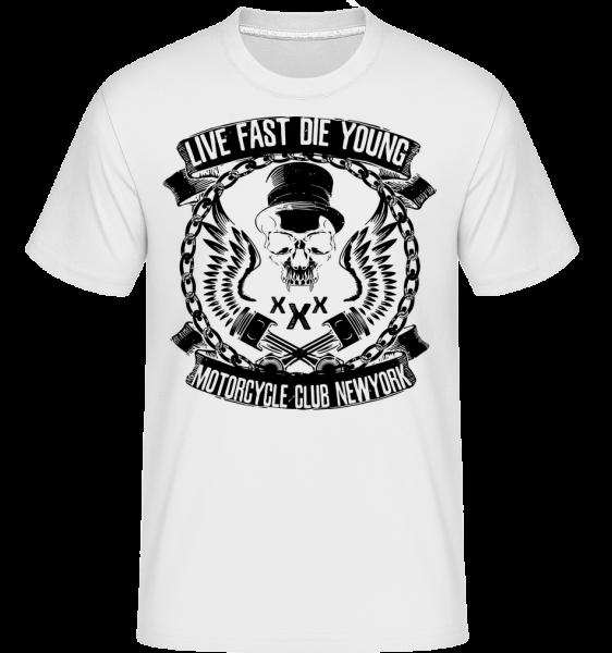 Live Fast Die Young Skull - T-Shirt Shirtinator homme - Blanc - Vorn