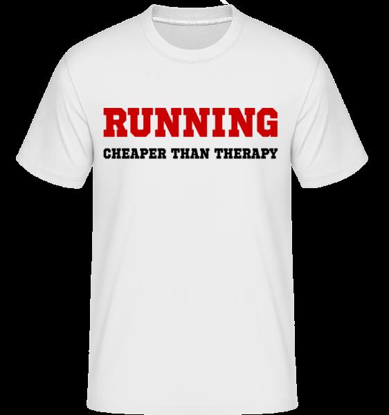 Running - Cheaper Than Therapy - T-Shirt Shirtinator homme - Blanc - Vorn
