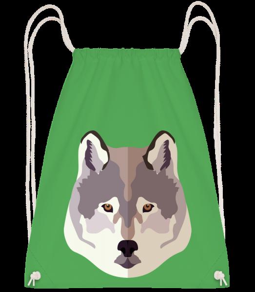 Loup Comic Ombre - Sac à dos Drawstring - Vert irlandais - Vorn