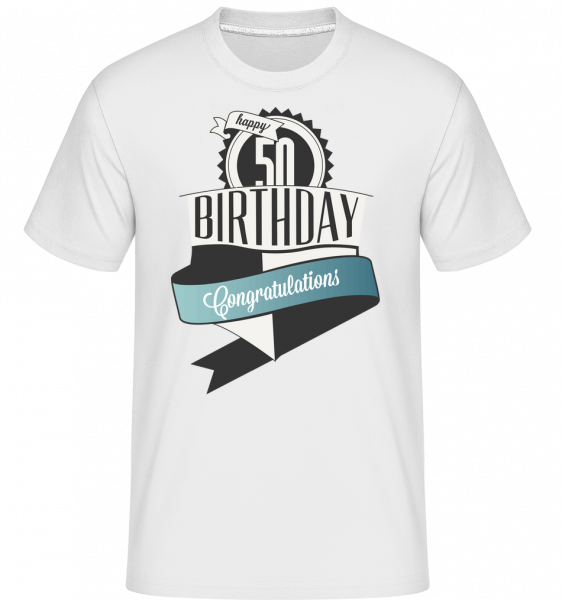 50 Birthday Congrats - T-Shirt Shirtinator homme - Blanc - Vorn