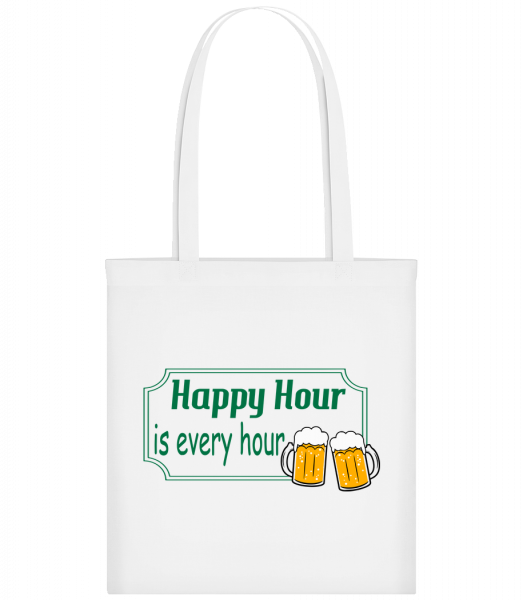 Happy Hour Is Every Hour Sign Gr - Sac tote - Blanc - Vorn