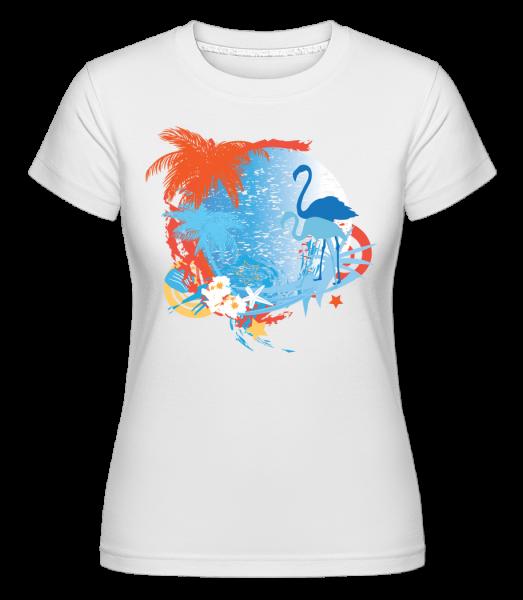 Flamingos In Paradise Blue/Orang - T-shirt Shirtinator femme - Blanc - Vorn