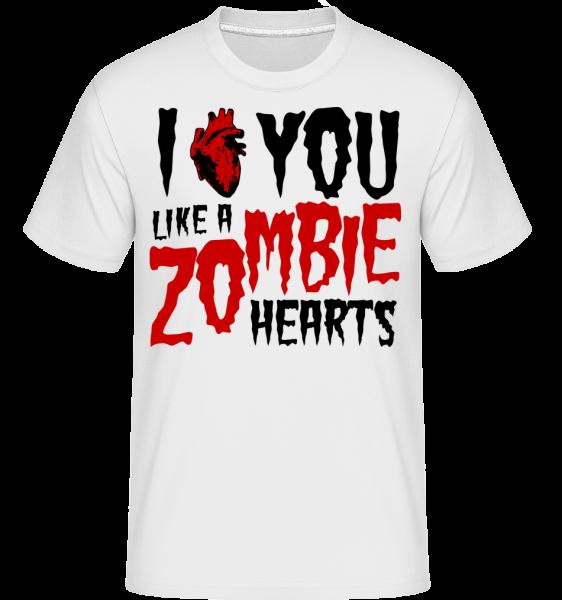 I Like You Like A Zombie Hearts - T-Shirt Shirtinator homme - Blanc - Vorn