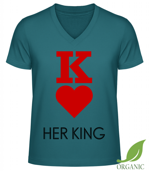 Her King - T-shirt bio col en V James - Essence - Vorn