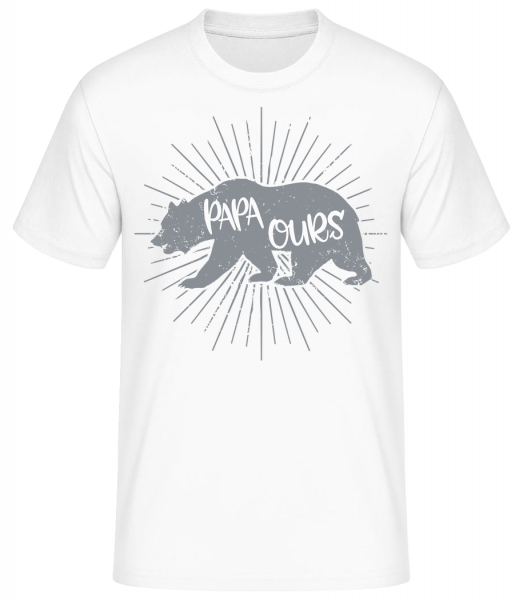 Papa Ours - T-shirt standard homme - Blanc - Vorn