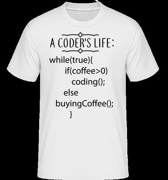 A Coder's Life Coffee - T-Shirt Shirtinator homme - Blanc - Vorn