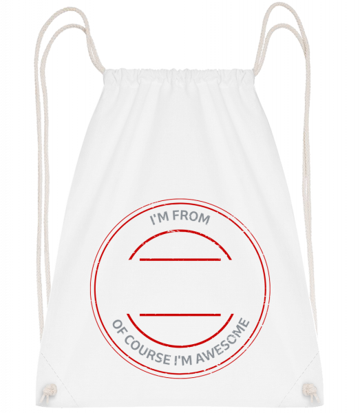Of Course I'm Awesome - Sac à dos Drawstring - Blanc - Vorn