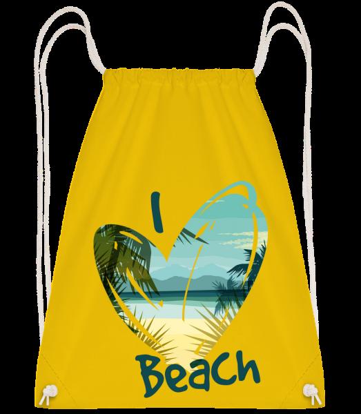 I Love Beach Heart - Sac à dos Drawstring - Jaune - Vorn