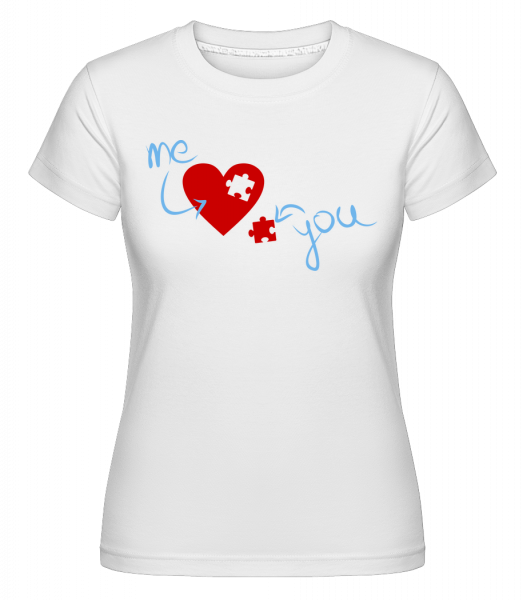 I Love You Puzzle Heart - T-shirt Shirtinator femme - Blanc - Vorn