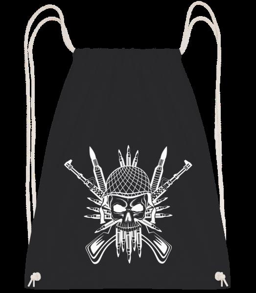 Tatouage De Crâne De Soldat - Sac à dos Drawstring - Noir - Vorn