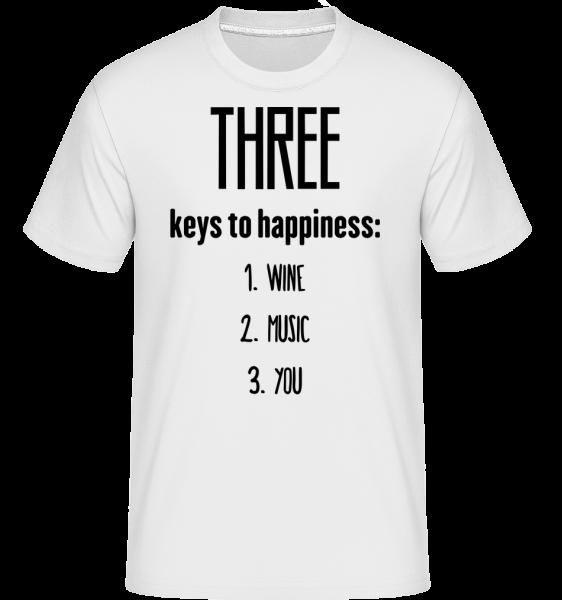 Three Keys To Happiness - T-Shirt Shirtinator homme - Blanc - Vorn