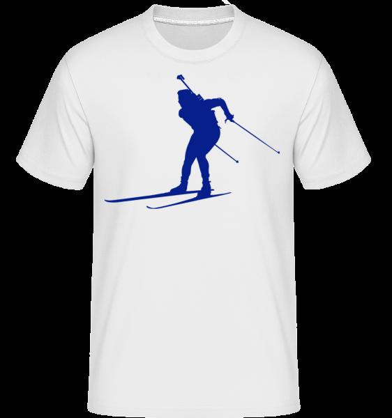 Skiing Cross Country Blue - T-Shirt Shirtinator homme - Blanc - Vorn