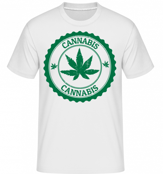 Cannabis Logo - T-Shirt Shirtinator homme - Blanc - Vorn