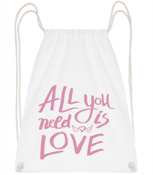 All You Need Is Love - Sac à dos Drawstring - Blanc - Vorn