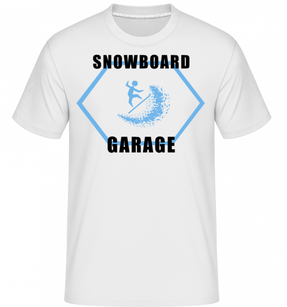 Snowboard Garage Sign -  T-Shirt Shirtinator homme - Blanc - Vorn