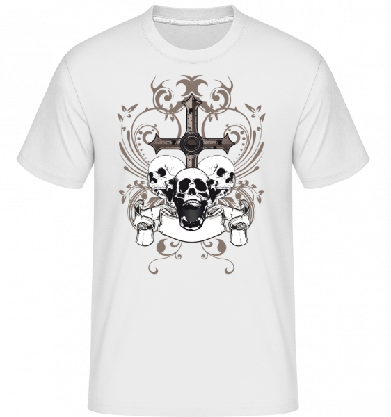 Cross And Skulls - T-Shirt Shirtinator homme - Blanc - Vorn