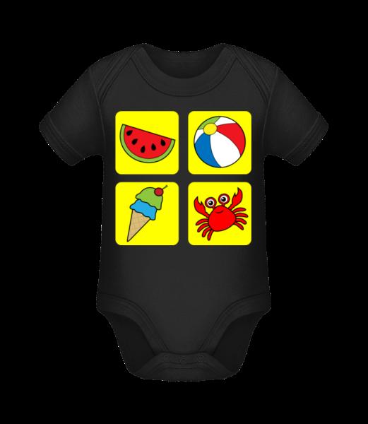 Été Enfants Multicolor - Body manches courtes bio - Noir - Vorn