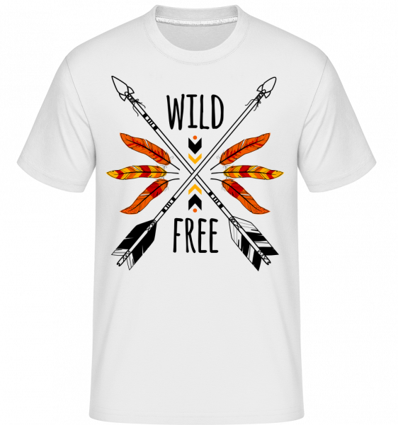 Wild And Free Logo - T-Shirt Shirtinator homme - Blanc - Vorn