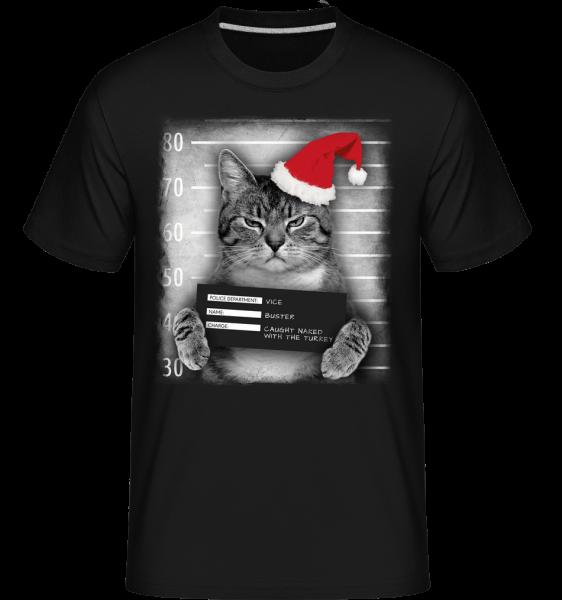 Cat XMas Guilty -  T-Shirt Shirtinator homme - Noir - Vorn