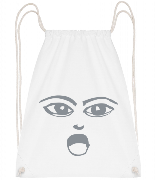 Wondering Face Symbol Grey - Sac à dos Drawstring - Blanc - Vorn