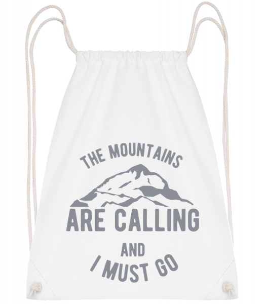 The Mountains Are Calling - Sac à dos Drawstring - Blanc - Vorn