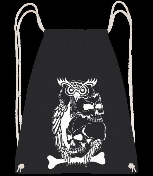 Tatouage De Crâne De Hibou - Sac à dos Drawstring - Noir - Vorn