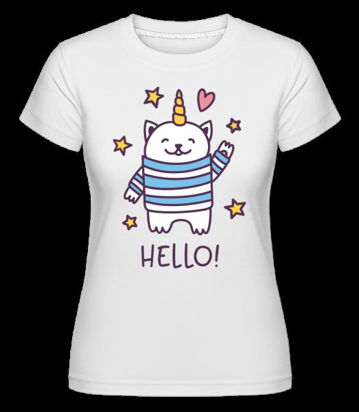 Hello Cat Unicorn - T-shirt Shirtinator femme - Blanc - Vorn