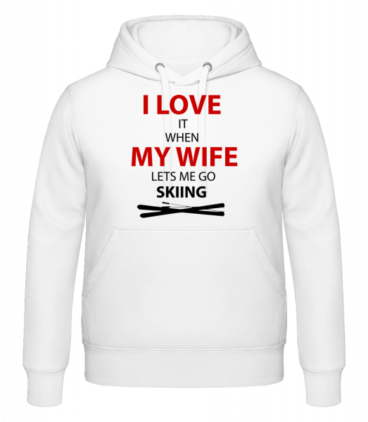 I Love Wife And Skiing - Sweat à capuche - Blanc - Vorn