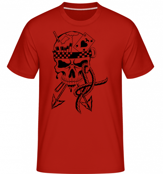 Tatouage Guerrier Crâne - T-Shirt Shirtinator homme - Rouge - Vorn