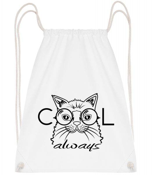 Cool Cat Always - Sac à dos Drawstring - Blanc - Vorn