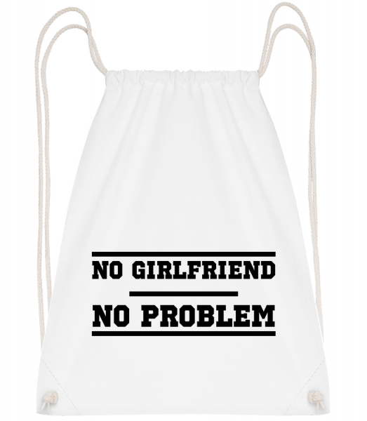 No Girlfriend No Problem - Sac à dos Drawstring - Blanc - Vorn