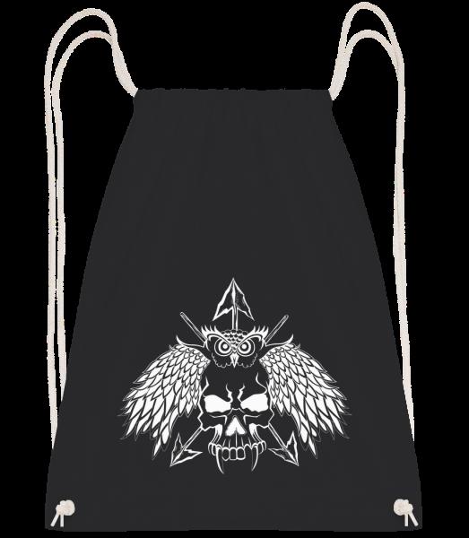 Tatouage Tête De Mort - Sac à dos Drawstring - Noir - Vorn